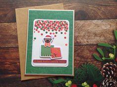 Christmas cards,handmade cards,cute Christmas cards,Pug Christmas card,cute cards, Kraft christmas card,rustic christmas card, by PinkyPromiseBargains on Etsy