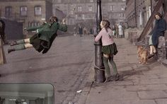 The girl has her skirt tucked into her knickers, so as not to reveal them when she goes flying around the lamp post; but in do so she gives everyone a glimpse of her suspension system