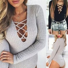 Grey Lace Up Bodysuit Love this look! Light grey bodysuit with lace up front detail. Stretchy ribbed knit fabric. Size S. NWOT. Tops Tees - Long Sleeve