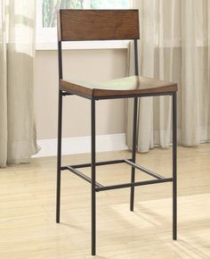 Modern Industrial Rustic Chestnut Wood and Black Metal Counter Height Barstool with Back