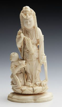 ANTIQUE CHINESE IVORY GUANYIN FIGURE GROUP 19TH C. (China)