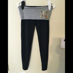 PINK Fold-Over Leggings Fold over legging, ankle length. Black with gold sequins.  GREAT CONDITION- no stains, holes, still tight. Cheaper on Ⓜ️. Make me an offer! Victoria's Secret Pants Leggings
