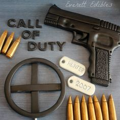 Call of Duty Theme edible cake decorations. Made using our in house made marshmallow fondant. Order your set today!