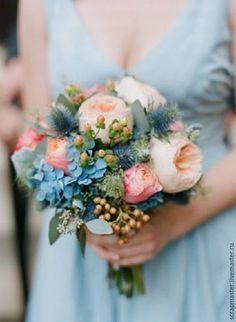 Купить Букет невесты-Французская роза ,роза бенджамин , очаровательные ягодки - комбинированный, букет цветов