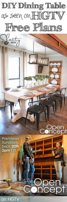 LOVE this table from HGTV's Open Concept! Free plans and tutorial to build it on www.shanty-2-chic.com!