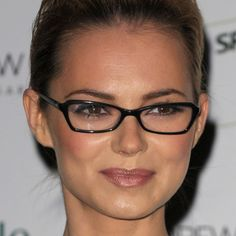 When it comes to choosing frames for your face shape, Marc suggests the counterbalancing method. This means choosing a frame that is the opposite of your face shape. For example, if you have a round face shape as Kara, pictured here, does, try a pair of rectangular frames with sharp edges. These square glasses flatter Kara's face shape, whereas fat, rounded frames would only highlight the roundness of her face. Kara Tointon