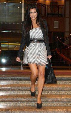 Kim Kardashian - striped dress, short black jacket and black heels