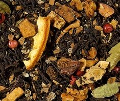 Holiday Blend (Ginger Orange Cookie) A flavored black tea that reminds of Christmas past and present, that makes one look forward to many more to come! Happy Holidays. Available from beginning of November until we run out, after the New Year.  Ingredients: black tea, apple pieces, cinnamon bits, coriander, natural flavoring, cardamon pods, orange slices, pink peppercorns, cloves.