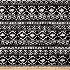 Rayon Challis Aztec Black/White from @fabricdotcom  This rayon fabric has a beautiful fluid drape and soft hand. It is perfect for creating shirts, blouses, gathered skirts and flowing dresses with a lining. Colors include black and white.