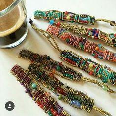 Macrame bracelets with beads: