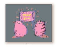 Thank You Card  Neon Cats  Thank You Cat Card by jamieshelman