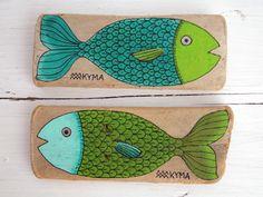 #Green #Fish #Fishes #Sea #Meer #Ocean #SaveOurOceans - Painting Driftwood Painted Driftwoodart Treibholz Treibholzkunst Strandgut - website: www.kymastyle.com - shop: http://kymastyle.dawanda.com - http://facebook.com/kymastyle - http://instagram.com/kymastyle - http://twitter.com/kymastyle - contact 4 orders + infos: kymastyle@yahoo.com