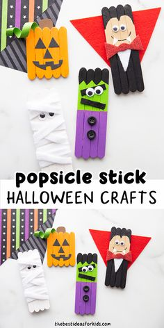 Popsicle Stick Halloween Crafts - such cute Halloween crafts for kids! Perfect for preschool or kindergarten! Halloween Craft Activities, Halloween Arts And Crafts, Halloween Crafts For Toddlers, Halloween Crafts For Kids, Crafts For Kids To Make, Diy Halloween Decorations, Toddler Crafts, Preschool Crafts, Halloween Fun