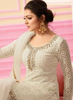 Keep ahead in fashion with this Dhrasti Dhami cream colour designer palazzo salwar suit. Pakistani Party Wear Dresses, Bollywood Dress, Party Wear Lehenga, Saree Dress, Dhoti Saree, Churidar, Dress Neck Designs, Designs For Dresses, Dress Indian Style