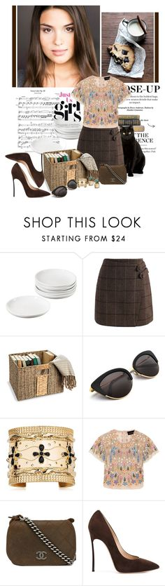"""Milk and Cookies with Spot the Cat"" by jakenpink ❤ liked on Polyvore featuring Chicwish, Improvements, Aurélie Bidermann, Needle & Thread, Chanel, Casadei and Banana Republic"