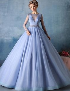 Formal Evening Dress Ball Gown Jewel Court Train Tulle with Beading 4996696 2016 – $129.99