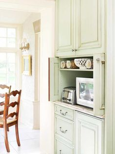 Pocket cabinet doors tuck into the cabinet so they are not obtruding the walkway, allowing the cabinet to stay open while the microwave or toaster is in use. When planning for new cabinets, consider how drawers and cabinets will open to avoid potential run-ins.