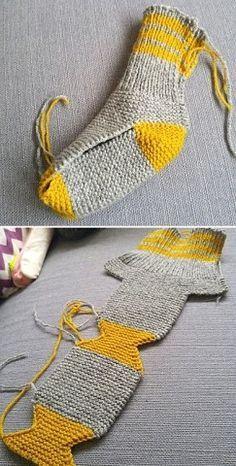 Crochet Socks, Knitted Slippers, Knitting Socks, Knitting Needles, Free Crochet, Knit Crochet, Loom Knitting, Patron Crochet, How To Knit Socks