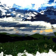 'in the sky' by artcases Abstract Art, Sky, Mountains, Landscape, Places, Travel, Heaven, Trips, Scenery