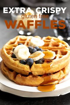gluten free breakfasts These extra crispy gluten free waffles are made with crispy rice in the batter for the perfect fully insides and edges so crisp they nearly shatter. Dairy Free Waffles, Gluten Free Pancakes, Gluten Free Breakfasts, Paleo Waffles, Egg Free Waffle Recipe, Waffle Recipes, Sin Gluten, Crispy Waffle, Lasagna