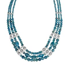 Relios Sterling Silver Apatite Multi Strand Statement Necklace