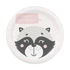 #pink - #Cute Racoon Mouse | Baby Shower Paper Plates