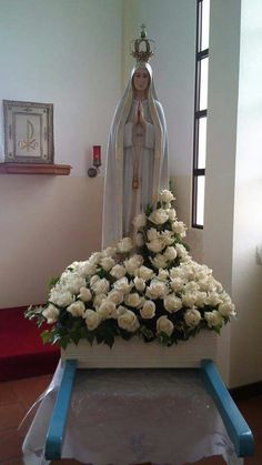 Altar Decorations, Flower Decorations, Christmas Decorations, Holiday Decor, Church Flower Arrangements, Fall Arrangements, Blessed Mother Mary, Blessed Virgin Mary, Marian Garden