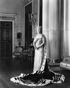 Queen Mary of the United Kingdom dressed in her robes of state for the three British coronations she attended. Top: Coronation of King Edward VII & Queen Alexandra when Princess of Wales, Middle: Coronation of herself and King George V,.