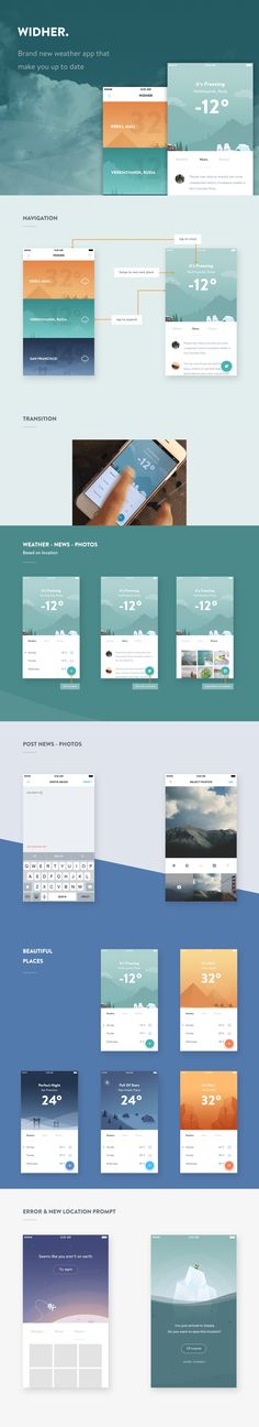 Widher - weather app concept par Ghani Pradita Mobile Ui Design, Web Ui Design, Dashboard Design, Flat Design, Layout Design, Graphic Design, App Design Inspiration, Application Design, Mobile Application