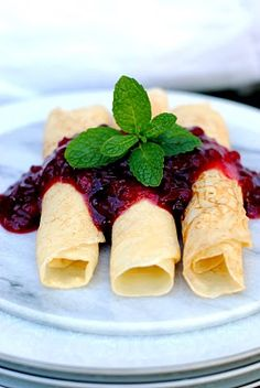 Swedish Pancakes - these are sooo good, similar to crepes. Had them at a friend's house when I was 9 mos. pregnant, mmmm. :)