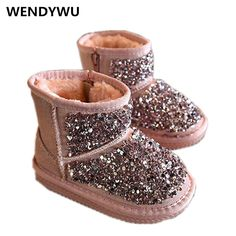 >> Click to Buy << 2107 kids snow boots fenuine leather girls boots crystal princess winter boots warm pink black kids shoes 22-37 #Affiliate