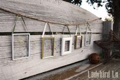 Ladybird Ln: Create a unique holiday banner using thrift store picture frames and Martha Stewart Glass Paint!
