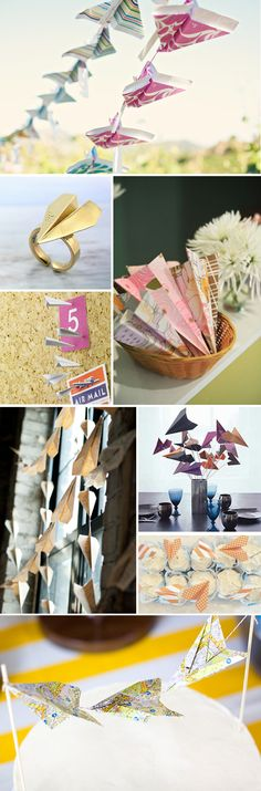 Paper airplane wedding decorations to bring in Andrew's aviation theme. Airplane Wedding, Aviation Wedding, Aviation Theme, Airplane Party, Aviation Center, Airplane Crafts, Airplane Decor, Airplane Nursery, Party Decoration