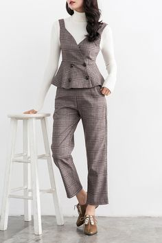 DONGZHOUYALI Plaid Waistcoat and Ankle Pants