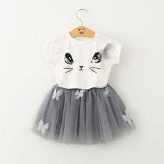 Cartoon-Kitten-Kids-Baby-Girls-Cute-T-shirt-Tops-Tutu-Dress-Skirts-2pcs-Outfits