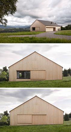 Haus Kaltschmieden (Doren, Austria) | by Bernardo Bader Architekten (2014) Rural House, House In The Woods, Brick Architecture, Architecture Details, Barn House Conversion, House Cladding, Modern Barn House, Contemporary Barn, Arch House