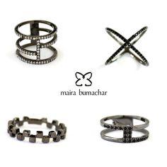 Anéis ródio negro!  www.mairabumachar.com.br  #mairabumachar  #lojapraiadocanto #vix #showroomsp #VilaMadalena  #pedidosporwhatsapp (11)997440079 #mairabumachar