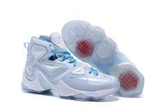 2016 Mens Lebron James 13 White Silver Blue Shoes Star Shoes 0e7060134