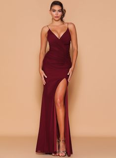 A stunning full length gown by Les Demoiselle LD1096. A v-neck style featuring flattering ruched detail throughout and side split in skirt. Wine Bridesmaid Dresses, Full Length Gowns, V Neck, Side Split, Formal Dresses, Skirts, Detail, Wedding, Style