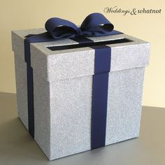 Hey, I found this really awesome Etsy listing at https://www.etsy.com/listing/247929785/silver-and-navy-wedding-card-box-9w-x-9h