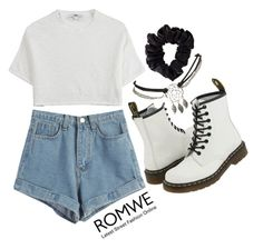 """""""Denim Blue Shorts by ROMWE"""" by patricia-pfa ❤ liked on Polyvore featuring Dr. Martens, Wet Seal, Hope, American Apparel, BackToSchool, romwe and emmastaggies"""