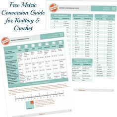 Free Metric Conversion Guide for Knitting & Crochet #knit #knitting #crochet