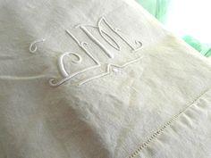 Large French metis linen sheet monogram JM by frenchvintagedream