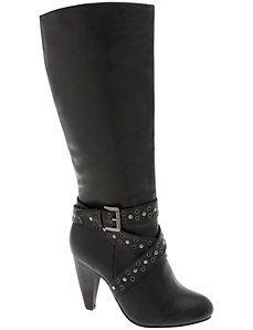 Grommet strap high heel boot