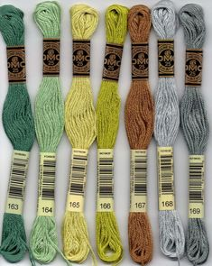 DMC six-stranded embroidery floss 100 series: 163 - Celadon Green - MD; 164 - Forest Green - LT; 165 - Moss Green - VY LT; 166 - Moss Green - MD LT; 167 - Yellow Beige - V DK; 168 - Pewter - VY LT; 169 - Pewter - LT