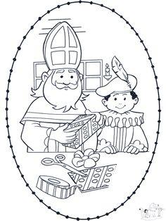 * Sint en Piet! Kleuren en borduren! Christmas Colors, Christmas Crafts, Hobbies And Crafts, Crafts For Kids, St Nicholas Day, Coloring Pages, Saints, Clip Art, Black And White