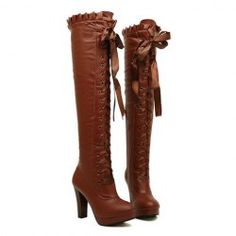 8a826cc2eec3 Vintage Women s Over The Knee Boots With Ruffles and Lace-Up Design Cheap  Cute Shoes