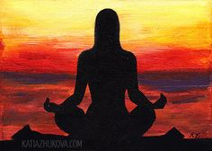 Original Acrylic Painting on Canvas 'Searching' 5x7 Yoga Meditation at Sunset