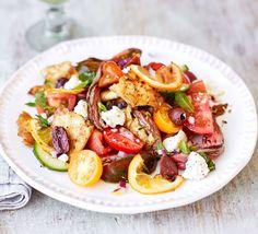 Steak panzanella salad with roasted lemons