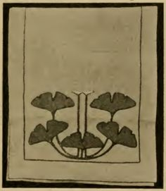 """Applique table scarf design from Stickley's Craftsman Workshops, early 1900s. Ginkgo Design. This was worked on flax canvas or linen. The applique was frequently done in deep leaf green applique, outlined and couched in a rich cream color, with the buds on the uprights stalks done in brilliant orange. Finished size 20""""x72"""" or 20""""x90""""."""